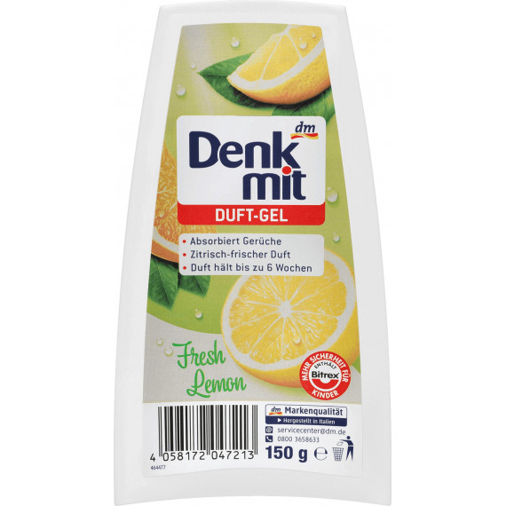 Гелевый освежитель воздуха Свежий лимон Denkmit, 150 гр. (Германия) -