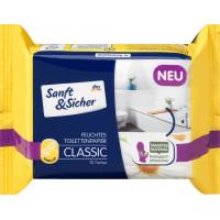 Влажная туалетная бумага Классическая ромашка запаска Sanft & Sicher, 70 шт (Германия)