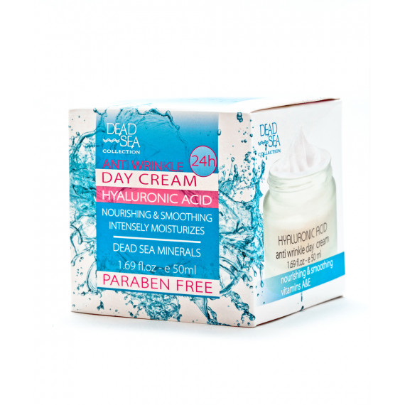 Дневной крем против морщин с гиалуроновой кислотой и минералами Мертвого моря, 50 ml -