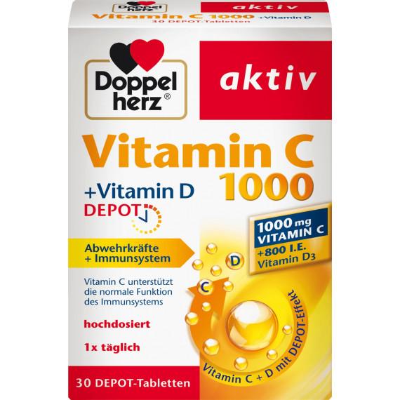 Вітамін С 1000 депо таблетки Doppelherz 30 штук, 41,3 г. (Німеччина) -