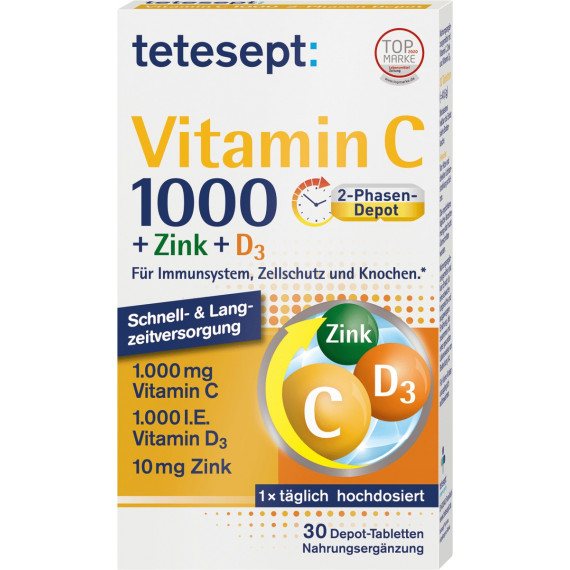 Витамин С + цинк + таблетки D3 tetesept 30 штук, 41,6 г (Германия) -