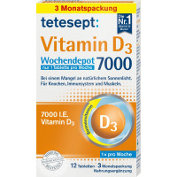 Вітамін D3 7000 щотижневих депо таблеток tetesept 12 штук, 6 г (Німеччина)