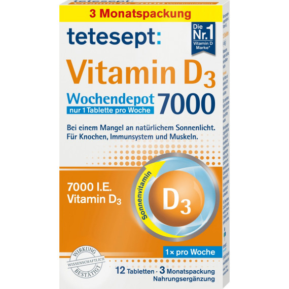Вітамін D3 7000 щотижневих депо таблеток tetesept 12 штук, 6 г (Німеччина) -