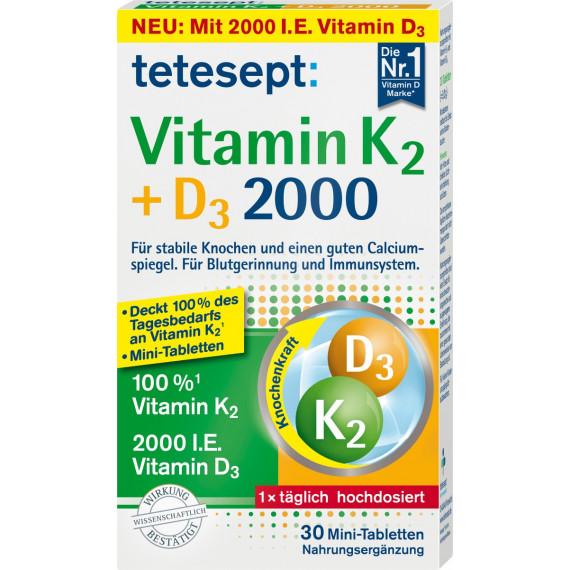 Витамин K + D3 мини-таблетки 30 штук tetesept, 9,2 г (Германия) -
