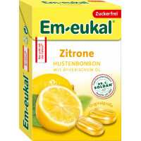 Цукерки міні, Лимон, Без цукру Em-eukal, 50 g (Німеччина)