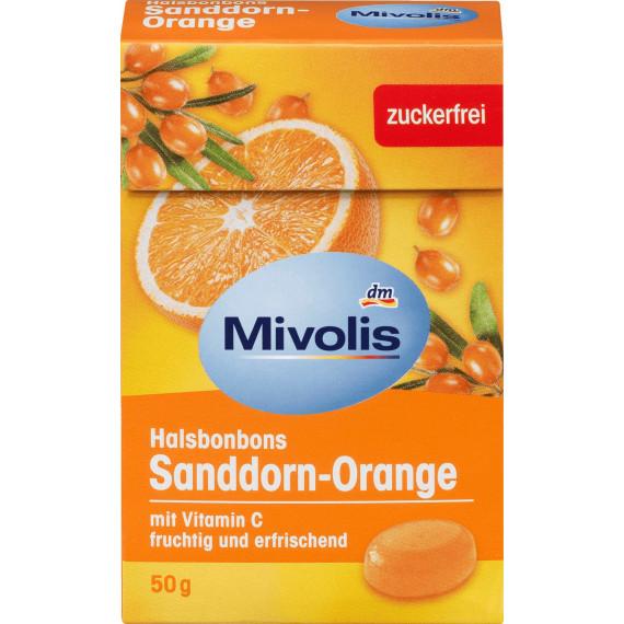 Конфеты Облепиха-Апельсин, без сахара Mivolis, 50 g (Германия) -