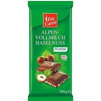 Шоколад молочний з лісовими горіхами FIN CARRÉ, 100 g (Німеччина)
