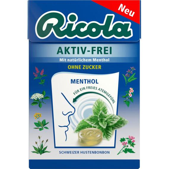 Конфеты, Активные с натуральным ментолом, без сахара, в карманной коробке Ricola, 50 г (Германия) -