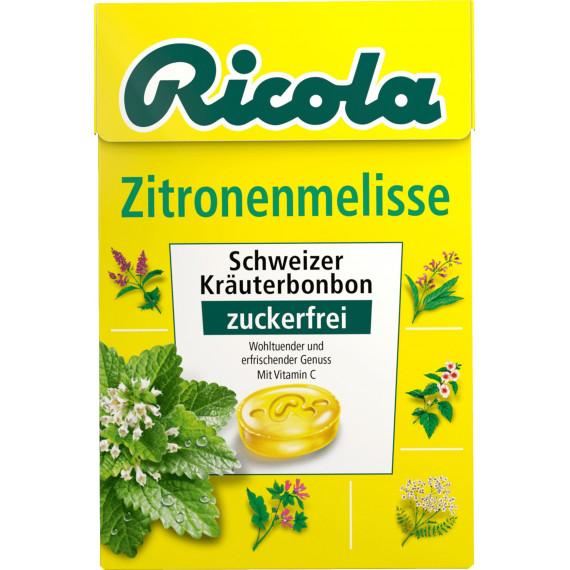 Конфеты, мелисса, без сахара, в карманной коробке Ricola, 50 г (Германия) -