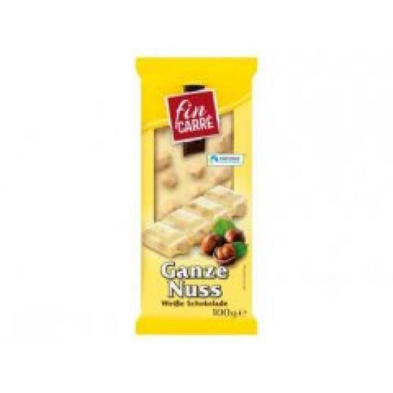 Шоколад белый с целыми лесными орехами FIN CARRÉ, 100 g (Германия) -