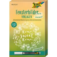 Шаблоны оконных рисунков теплый сезон folia, 8x шаблоны 1х меловой маркер, (Германия)