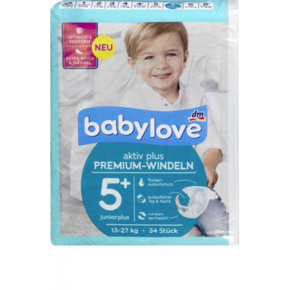 Премиум подгузники babylove 5+, 13-27kg, 34 шт. (Германия) -