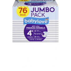 Премиум подгузники babylove 4 + макси  9-20kg, Джамбо упаковка 2x38 шт, 76 шт. (Германия)