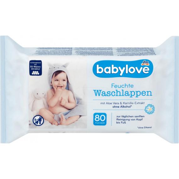 Вологі серветки для вмивання babylove, 80 St (Німеччина) -