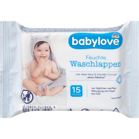 Вологі серветки для вмивання babylove, 15 шт (Німеччина) -
