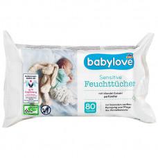Влажные салфетки для чувствительной кожи babylove, 80 шт. (Германия)