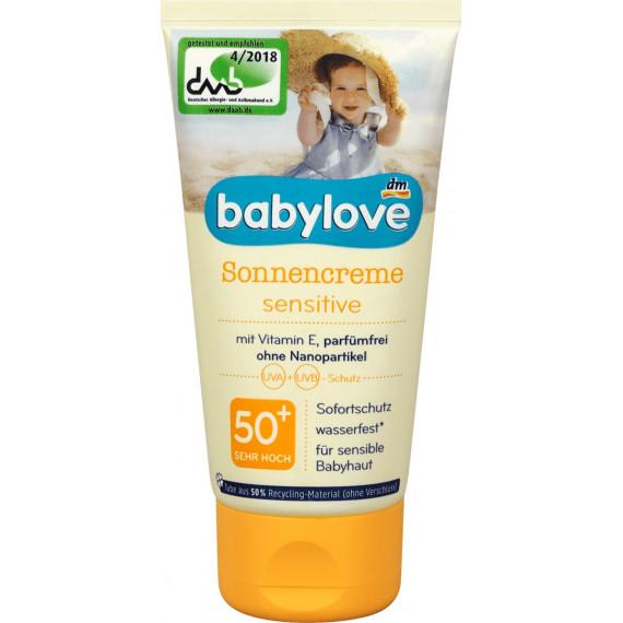 Солнцезащитный крем чувствительный SPF 50 babylove, 75 мл (Германия) -