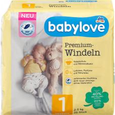 Премиум подгузники для новорожденных babylove 1, 2-5kg, 28 St (Германия)