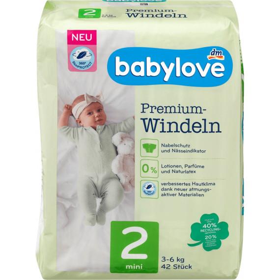 Подгузники премиум экстра мягкие babylove 2, мини 3-6kg, 42 St (Германия) -