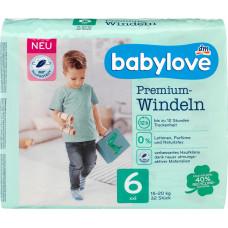 Премиум подгузники babylove 6, XXL 16-20 kg, 32 шт. (Германия)