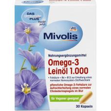 Биологически активная добавка Льняное масло Омега-3 Mivolis, 30 шт. (Германия)