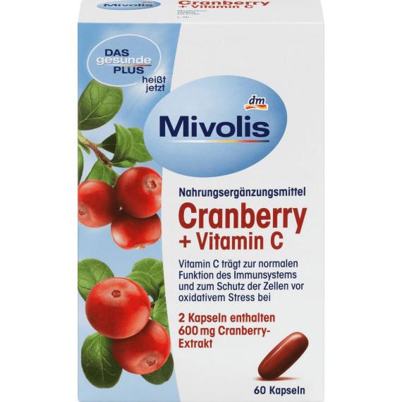 Биологически активная добавка Клюква + Витамины С 60 штук Mivolis, 68 g (Германия) -