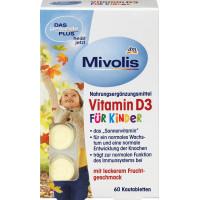 Біологічно активна добавка Вітамін D3 жувальні таблетки Mivolis, 60 шт. (Німеччина)