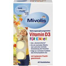 Биологически активная добавка Витамин D3 жевательные таблетки Mivolis, 60 шт. (Германия)