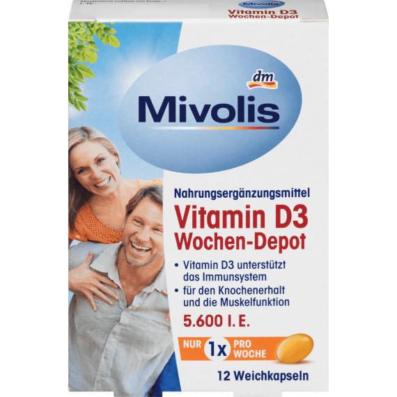 Витамин D3 Еженедельное депо, мягкие капсулы 12 штук, 5 g (Германия) -
