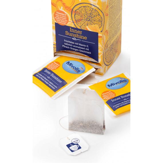 Травяной чай Внутреннее солнце с витамином D и с апельсиново-персиковым ароматом, 25 фильтр-пакетов Mivolis, 50 g (Германия) -