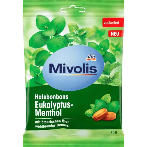 Конфеты, Эвкалипт-Ментол, без сахара Mivolis, 75 г (Германия) -
