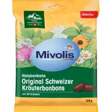 Конфеты, Оригинальные Швейцарские Травы, без сахара Mivolis, 125 g (Германия)