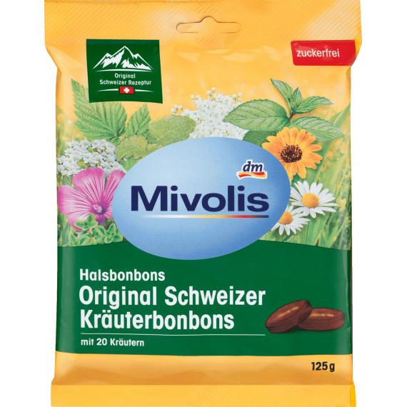 Конфеты, Оригинальные Швейцарские Травы, без сахара Mivolis, 125 g (Германия) -