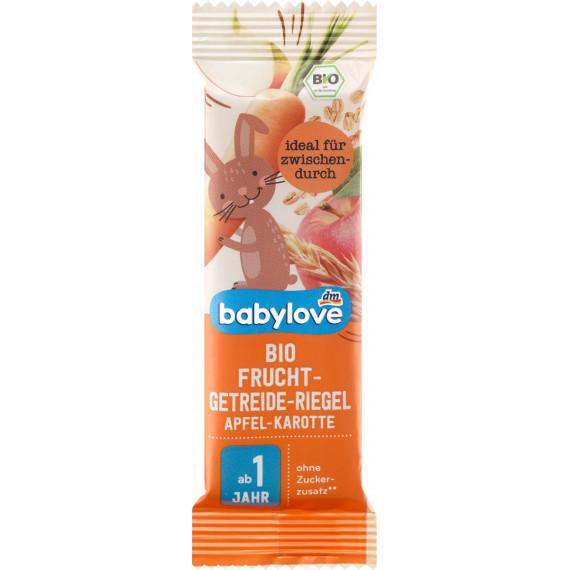 Фруктовый батончик с крупами Органический злаковый яблоко-морковь от 1 года babylove, 25 g (Германия) -