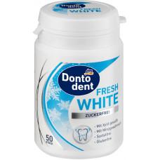 Жевательная резинка белая, белые зубы DONTODENT, 50 шт (Германия)
