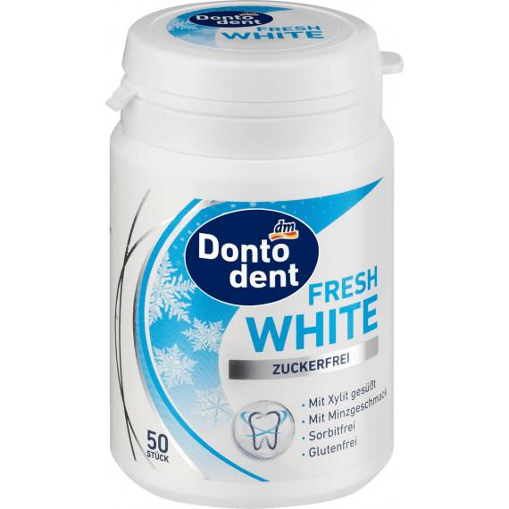 Жевательная резинка белая, белые зубы DONTODENT, 50 шт (Германия) -