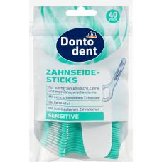 Зубные нити-палочки Чувствительные с футляром Dontodent, 40 шт (Германия)